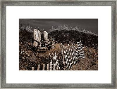 Adirondack Beach Chairs  Framed Print by Rick Mosher