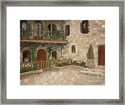 Greek Courtyard - Agiou Stefanou Monastery -balcony Framed Print