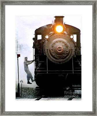 All Aboard The Number 40 At New Hope Pennsylvania Train Terminal Framed Print