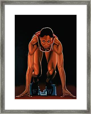Allyson Felix Painting  Framed Print by Paul Meijering