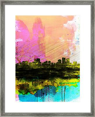 Anchorage Watercolor Skyline Framed Print by Naxart Studio