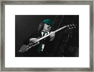 Angus Young At The Tacoma Dome In Tacoma Framed Print by Don Kuing