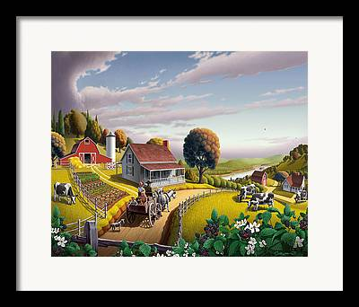 Amish Farms Paintings Framed Prints