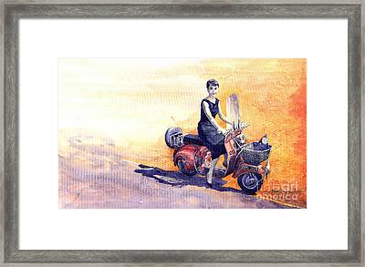 Audrey Hepburn And Vespa In Roma Holidey  Framed Print