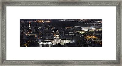 Panorama Of The State Capitol From The Austin Skyline Framed Print by Rob Greebon