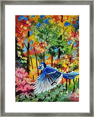 Autumn Blue Jay Framed Print