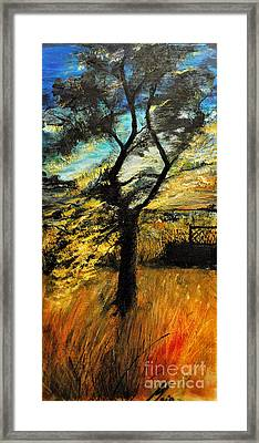 Framed Print featuring the painting  Autumn Tree by Maja Sokolowska