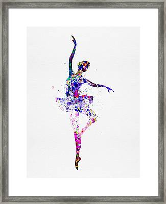 Ballerina Dancing Watercolor 2 Framed Print by Naxart Studio