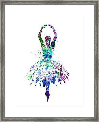 Ballerina Dancing Watercolor 4 Framed Print
