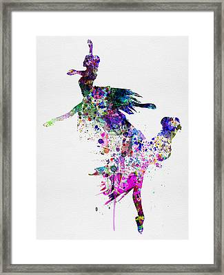 Ballet Watercolor 3 Framed Print by Naxart Studio