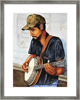 Banjo Player Framed Print by John W Walker