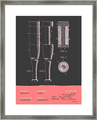 Baseball Bat Patent From 1919 - Gray Salmon Framed Print