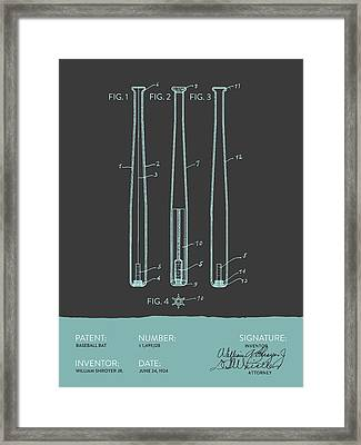 Baseball Bat Patent From 1924 - Gray Blue Framed Print by Aged Pixel