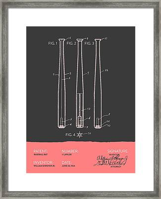 Baseball Bat Patent From 1924 - Gray Salmon Framed Print
