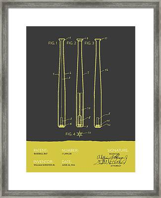 Baseball Bat Patent From 1924 - Gray Yellow Framed Print by Aged Pixel