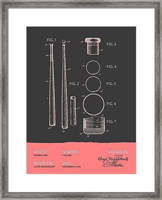 Baseball Bat Patent From 1926 - Gray Salmon Framed Print by Aged Pixel