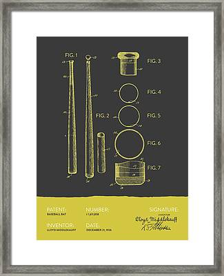 Baseball Bat Patent From 1926 - Gray Yellow Framed Print by Aged Pixel