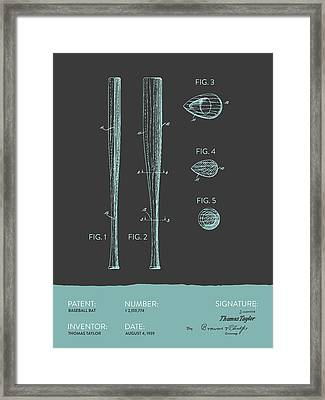 Baseball Bat Patent From 1939 - Gray Blue Framed Print by Aged Pixel