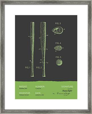 Baseball Bat Patent From 1939 - Gray Green Framed Print by Aged Pixel