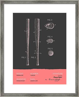 Baseball Bat Patent From 1939 - Gray Salmon Framed Print by Aged Pixel
