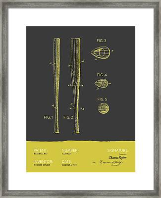 Baseball Bat Patent From 1939 - Gray Yellow Framed Print by Aged Pixel