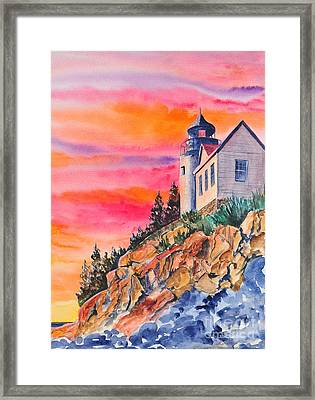 Bass Harbor Light Sunset Framed Print