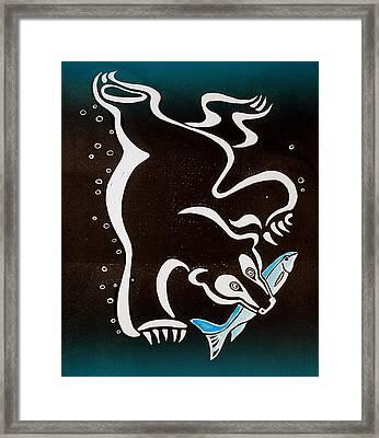 Bear Diving For The Fish Framed Print