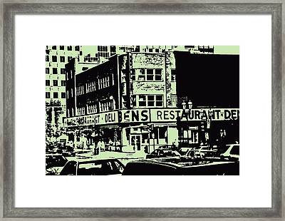 Ben's Resto Delicatessan Lunchtime Crowds And Traffic Jams Vintage Montreal Memorabilia Framed Print by Carole Spandau