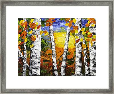 Birch Trees In Fall Pallete Knife Painting Framed Print by Keith Webber Jr