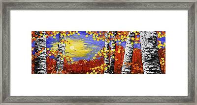 Birch Trees In Fall Panorama Painting Framed Print by Keith Webber Jr