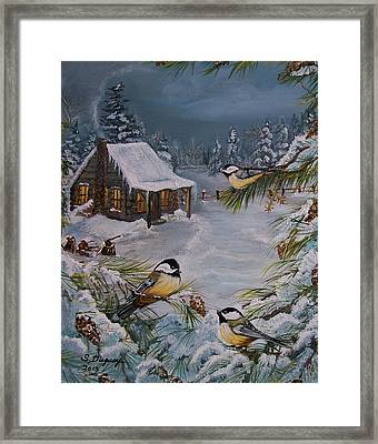 Black Capped   Chickadee's  Framed Print