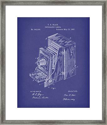 Blair Photographic Camera 1887 Patent Art Blue Framed Print by Prior Art Design
