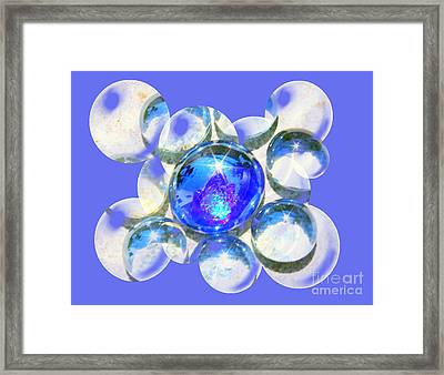 Blue Glass Bubble Abstract Framed Print by Judy Palkimas
