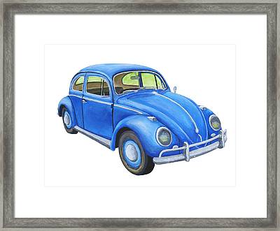 Blue Volkswagon Beetle Painting Framed Print by Keith Webber Jr