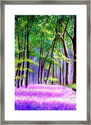 Framed Print featuring the painting  Bluebells Wood  by Marie-Line Vasseur