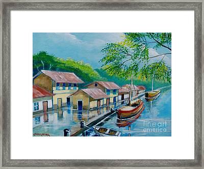 Botes En El Rio Framed Print