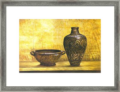 Bowl And Flower Pot Canvas Prints Framed Print by Canvas Champ