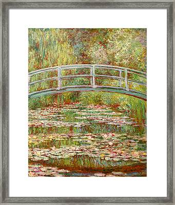 Bridge Over A Pond Of Water Lilies Framed Print