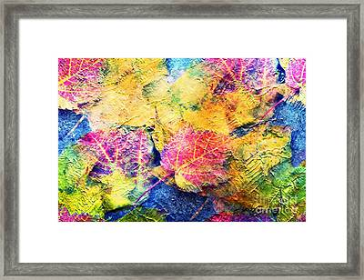 Bright- Colorful Fall Leave Abstract Framed Print
