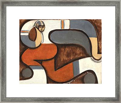 Broncos Abstract Football Player Framed Print by Tommervik