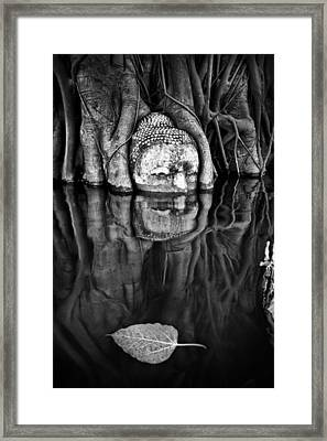 Buddha Head Statue  Framed Print by Land Of Smile