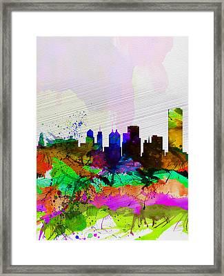 Buffalo Watercolor Skyline Framed Print by Naxart Studio