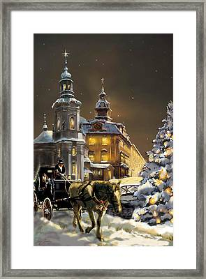 Buggy And Horse At Christmasn The Ukraine Framed Print