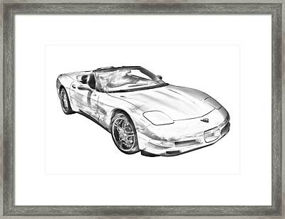 C5 Corvette Convertible Muscle Car Illustration Framed Print by Keith Webber Jr