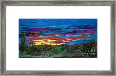 Framed Print featuring the painting  California Desert Sunset by Gary Brandes