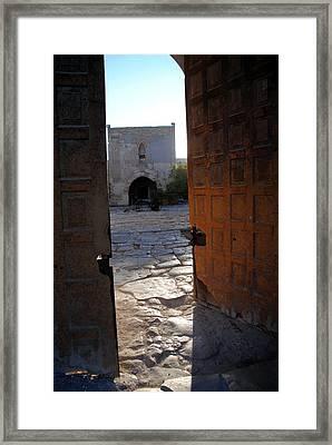 Caravanserais Central Gate - Anatolia Framed Print by Jacqueline M Lewis