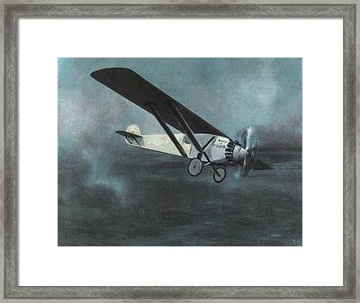 Charles Lindbergh Is The First  To Fly Framed Print by Mary Evans Picture Library