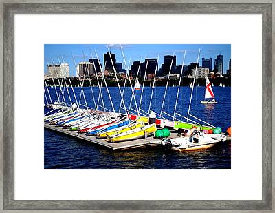 Charles River Sailboats Boston Framed Print by Ronald Bartels