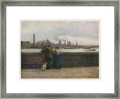 Chelsea Embankment On A Grey Day Framed Print by Mary Evans Picture Library