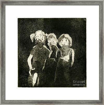 Children In The Shade - Kids - Boys - Girls - Darkness - Etching - Fine Art Print - Stock Image Framed Print by Urft Valley Art